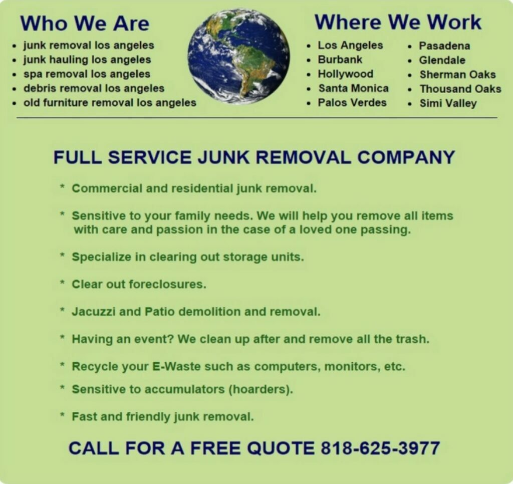 Junk Hauling and Removal In Burbank, Glendale, Santa Monica